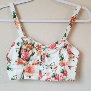 Kimchi Blue small cropped bra top floral